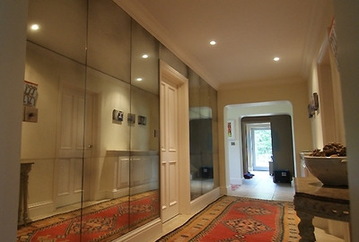Private House, Wiltshire. Medium antique mirror glass tiles.