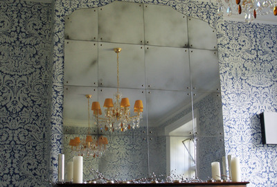 Antiqued-panel-mirror-overmantle