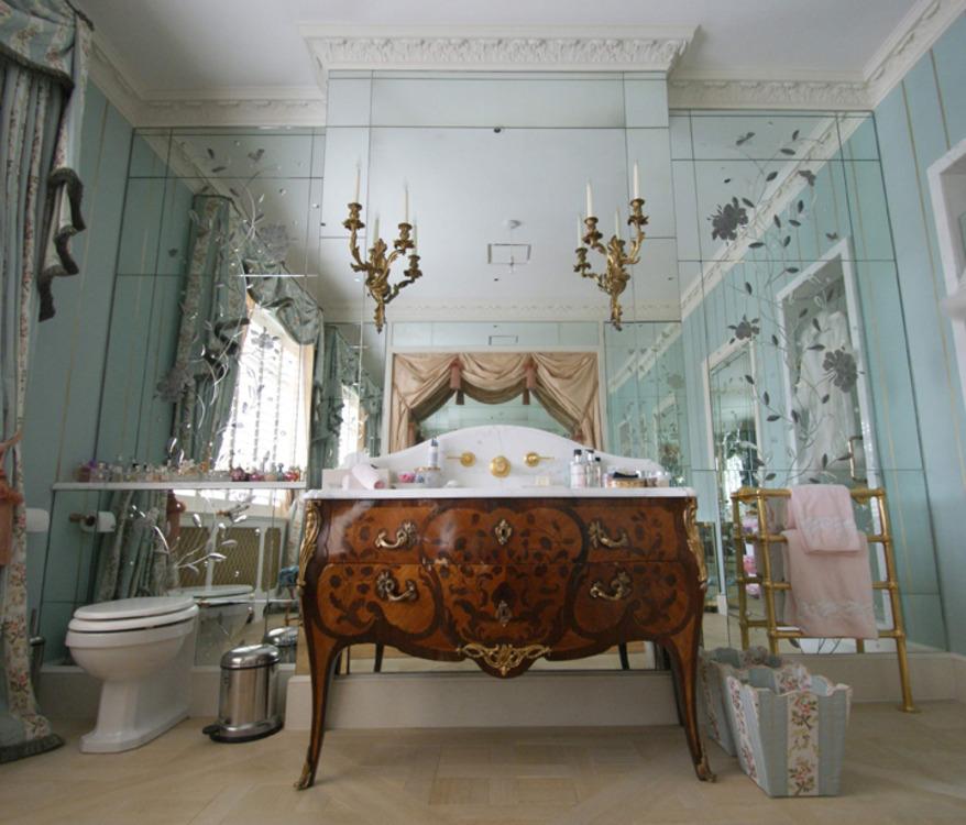 Brilliant Cut Antique Mirror Bathroom Vanity
