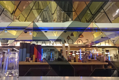 Yo-Sushi-Harvey-Nichols-London-Gold-Peach-Grey-Mirror-Feature-Wall